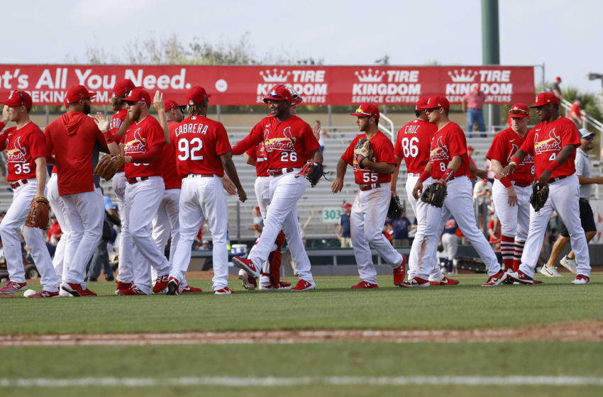 JUPITER, FL - MARCH 3: The St. Louis Cardinals celebrate their win against Houston Astros during a spring training game at Roger Dean Chevrolet Stadium on March 3, 2020 in Jupiter, Florida. The Cardinals defeated the Astros 6-3. (Photo by Joel Auerbach/Getty Images)