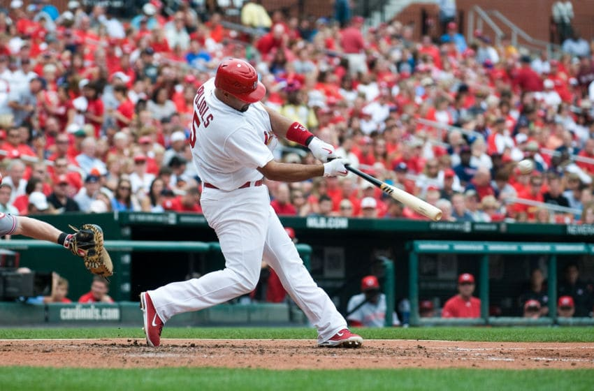 ST. LOUIS, MO - SEPTEMBER 3: Albert Pujols #5 of the St. Louis Cardinals bats against the Cincinnati Reds at Busch Stadium on September 3, 2011 in St. Louis, Missouri. (Photo by Jeff Curry/Getty Images)