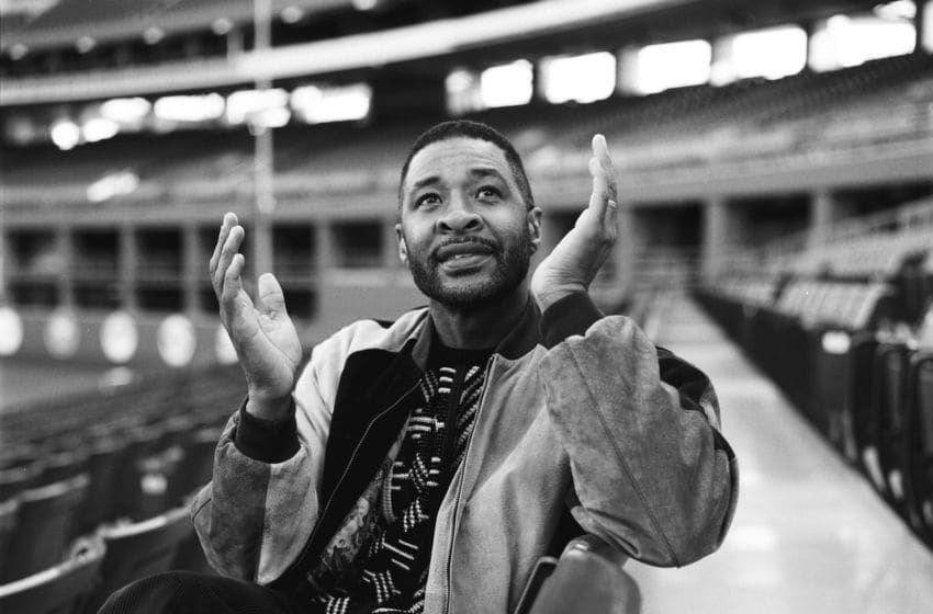 ST. LOUIS - CIRCA 1991: Baseball Hall of Fame inductee Ozzie Smith of the St. Louis Cardinals poses for a portrait at Busch Stadium in St. Louis, Missouri following the 1991 season . (Photo by Ron Vesely/MLB Photos via Getty Images)