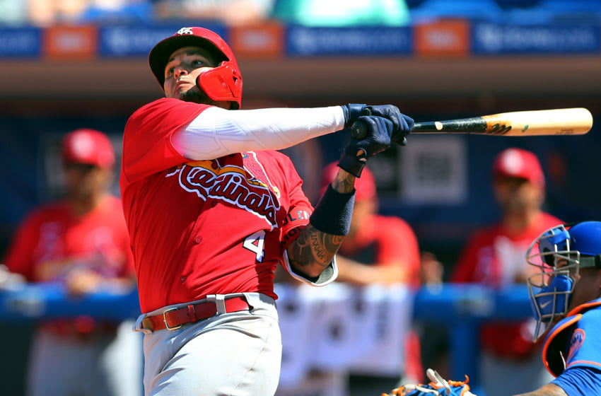 PORT ST. LUCIE, FL - MARCH 11: Yadier Molina #4 of the St. Louis Cardinals in action against the New York Mets during a spring training baseball game at Clover Park at on March 11, 2020 in Port St. Lucie, Florida. The Mets defeated the Cardinals 7-3. (Photo by Rich Schultz/Getty Images)