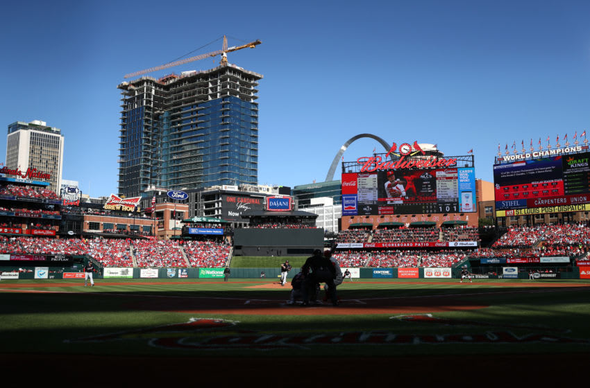ST LOUIS, MISSOURI - OCTOBER 12: A general view of Busch Stadium as starting pitcher Max Scherzer #31 of the Washington Nationals delivers a pitch in the first inning of game two of the National League Championship Series against the St. Louis Cardinals on October 12, 2019 in St Louis, Missouri. (Photo by Jamie Squire/Getty Images)