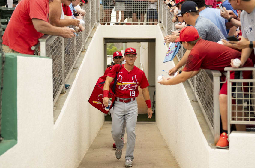 FT. MYERS, FL - MARCH 10: Tommy Edman #19 of the St. Louis Cardinals walks past fans seeking autographs before a Grapefruit League game against the Boston Red Sox on March 10, 2020 at jetBlue Park at Fenway South in Fort Myers, Florida. (Photo by Billie Weiss/Boston Red Sox/Getty Images)