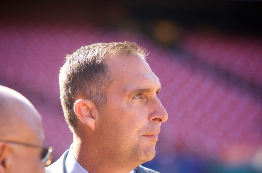 ST. LOUIS, MO-APRIL 13: St. Louis Cardinals General Manager John Mozeliak looks out on the field during prior a game against the Milwaukee Brewers on April 13, 2016 at Busch Stadium in St. Louis, Missouri. (Photo by Taka Yanagimoto/St. Louis Cardinals via Getty Images)