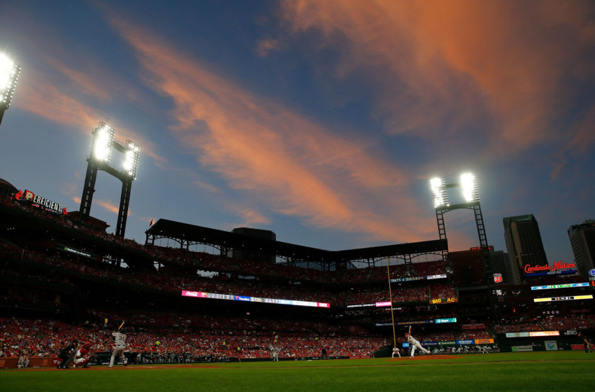 ST LOUIS, MO - SEPTEMBER 04: Tyler Webb #30 of the St. Louis Cardinals delivers a pitch against Brandon Crawford #35 of the San Francisco Giants in the third inning at Busch Stadium on September 4, 2019 in St Louis, Missouri. (Photo by Dilip Vishwanat/Getty Images)