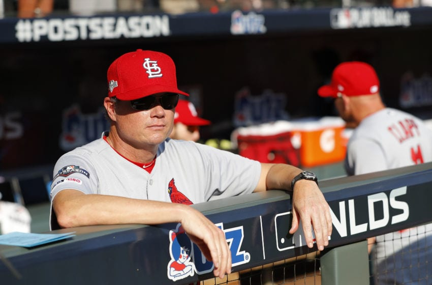 ATLANTA, GEORGIA - OCTOBER 03: Mike Shildt #8 of the St. Louis Cardinals looks on prior to game one of the National League Division Series against the Atlanta Braves at SunTrust Park on October 03, 2019 in Atlanta, Georgia. (Photo by Kevin C. Cox/Getty Images)