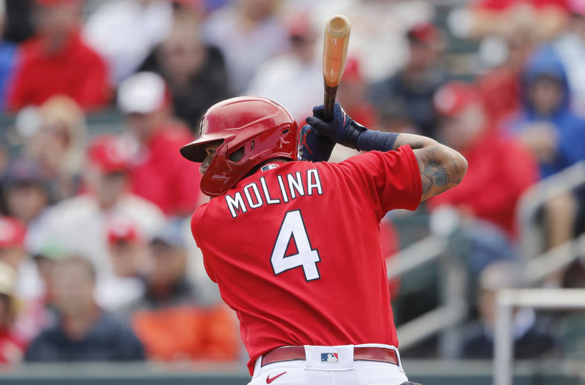 JUPITER, FLORIDA - FEBRUARY 22: Yadier Molina #4 of the St. Louis Cardinals at bat against the New York Mets during a Grapefruit League spring training game at Roger Dean Stadium on February 22, 2020 in Jupiter, Florida. (Photo by Michael Reaves/Getty Images)