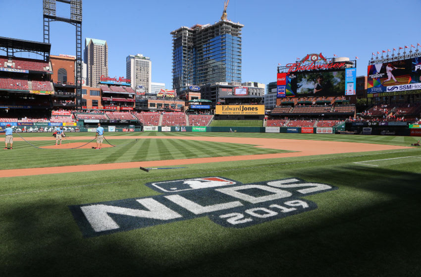 ST LOUIS, MISSOURI - OCTOBER 07: A general view as groundskeepers ready the field prior to game four of the National League Division Series between the Atlanta Braves and the St. Louis Cardinals at Busch Stadium on October 07, 2019 in St Louis, Missouri. (Photo by Scott Kane/Getty Images)
