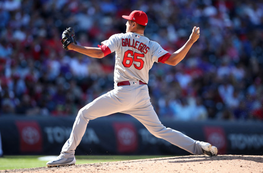 DENVER, CO - SEPTEMBER 12: Giovanny Gallegos #65 of the St. Louis Cardinals pitches during the game against the Colorado Rockies at Coors Field on September 12, 2019 in Denver, Colorado. The Cardinals defeated the Rockies 10-3. (Photo by Rob Leiter/MLB Photos via Getty Images)