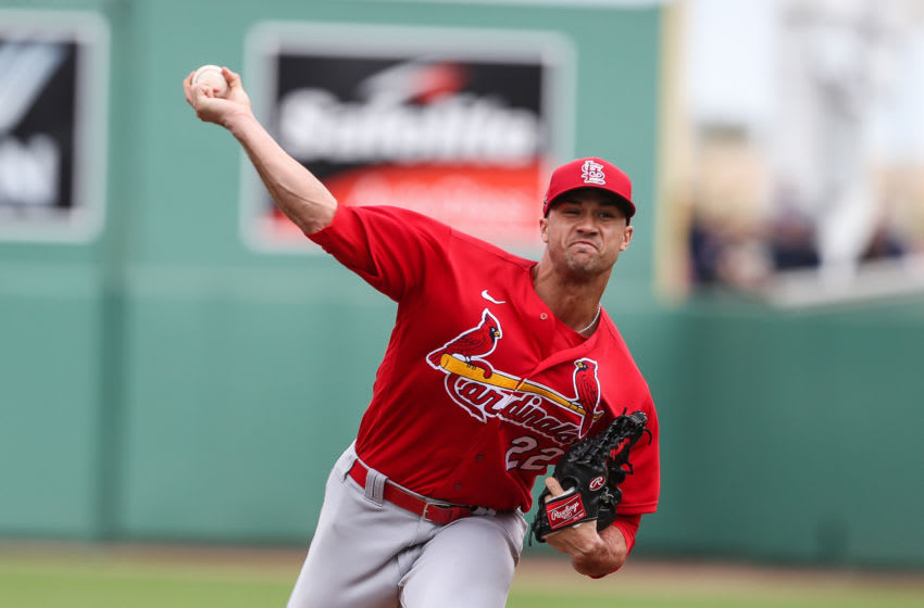 FT. MYERS, FL - MARCH 10: Jack Flaherty #22 of the St. Louis Cardinals pitches during a spring training game against the Boston Red Sox on March 10, 2020 at JetBlue Park in Fort Myers, Florida. (Photo by John Capella/Sports Imagery/Getty Images)