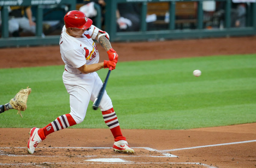 ST. LOUIS, MO - JULY 24: Tyler O'Neill #41 of the St. Louis Cardinals hits a solo home run during the third inning of the Opening Day game against the Pittsburgh Pirates at Busch Stadium on July 24, 2020 in St. Louis, Missouri. The 2020 season had been postponed since March due to the COVID-19 pandemic. (Photo by Scott Kane/Getty Images)