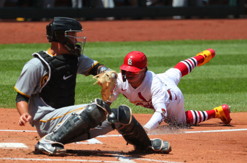 ST LOUIS, MO - JULY 26: Kolten Wong #16 of the St. Louis Cardinals scores a run against the Pittsburgh Pirates in the third inning at Busch Stadium on July 26, 2020 in St Louis, Missouri. (Photo by Dilip Vishwanat/Getty Images)