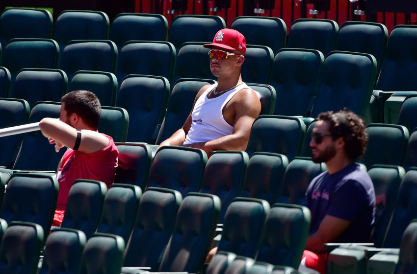Jul 12, 2020; St. Louis, Missouri, United States; St. Louis Cardinals pitchers Jordan Hicks and Dakota Hudson and Daniel Ponce de Leon watch from behind home plate during a simulated game at Busch Stadium. Mandatory Credit: Jeff Curry-USA TODAY Sports