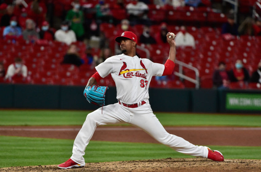 Genesis Cabrera (92) pitches during the sixth inning against the Washington Nationals at Busch Stadium. Mandatory Credit: Jeff Curry-USA TODAY Sports