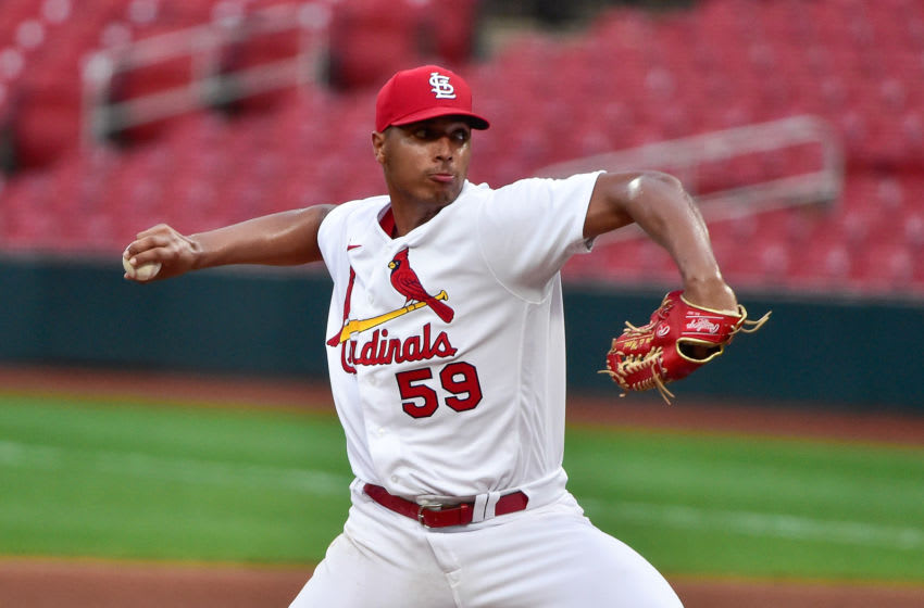 pitcher Johan Oviedo (59) pitches during the fourth inning against the Pittsburgh Pirates at Busch Stadium. Mandatory Credit: Jeff Curry-USA TODAY Sports