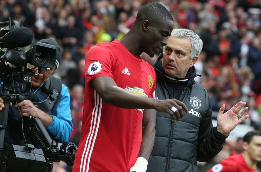 MANCHESTER, ENGLAND - APRIL 16: Manager Jose Mourinho of Manchester United speaks to Eric Bailly ahead of the second half during the Premier League match between Manchester United and Chelsea at Old Trafford on April 16, 2017 in Manchester, England. (Photo by Matthew Peters/Man Utd via Getty Images)