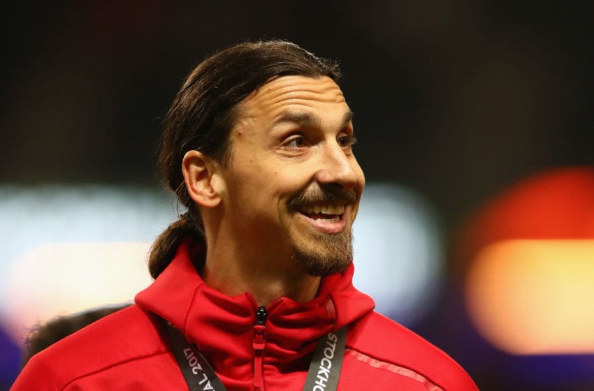 STOCKHOLM, SWEDEN - MAY 24: An injured Zlatan Ibrahimovic of Manchester United celebrates victory in the UEFA Europa League Final between Ajax and Manchester United at Friends Arena on May 24, 2017 in Stockholm, Sweden. (Photo by Dean Mouhtaropoulos/Getty Images)