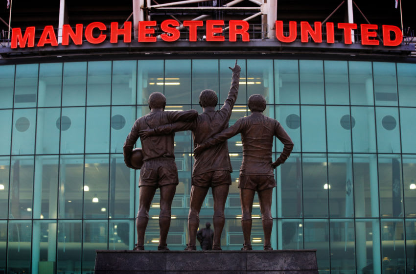 MANCHESTER, ENGLAND - FEBRUARY 12: A statue of the United Trinity of George Best, Denis Law, and Sir Bobby Charlton at Old Trafford during the UEFA Champions League Round of 16 First Leg match between Manchester United and Paris Saint-Germain at Old Trafford on February 12, 2019 in Manchester, England. (Photo by Marc Atkins/Getty Images)