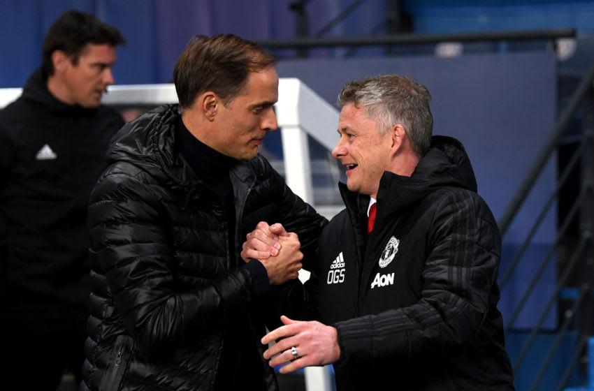 PARIS, FRANCE - MARCH 06: Ole Gunnar Solskjaer, Manager of Manchester United shakes hands with Thomas Tuchel, Manager of PSG during the UEFA Champions League Round of 16 Second Leg match between Paris Saint-Germain and Manchester United at Parc des Princes on March 06, 2019 in Paris, . (Photo by Shaun Botterill/Getty Images)