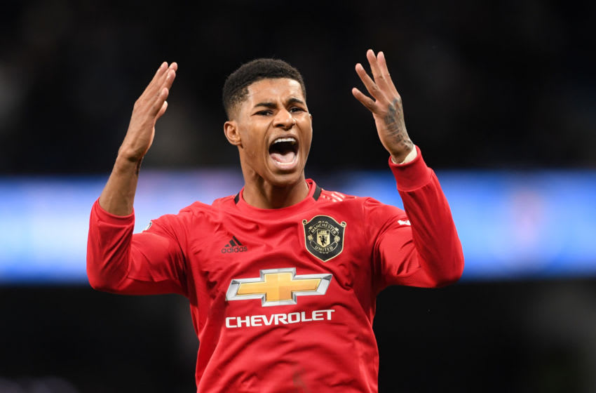 MANCHESTER, ENGLAND - DECEMBER 07: Marcus Rashford of Manchester United celebrates victory after the Premier League match between Manchester City and Manchester United at Etihad Stadium on December 07, 2019 in Manchester, United Kingdom. (Photo by Laurence Griffiths/Getty Images)