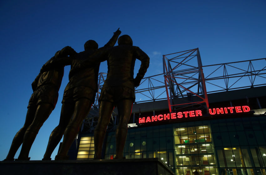 MANCHESTER, ENGLAND - FEBRUARY 27: The United Trinity statue is pictured outside the stadium prior to the UEFA Europa League round of 32 second leg match between Manchester United and Club Brugge at Old Trafford on February 27, 2020 in Manchester, United Kingdom. (Photo by Clive Brunskill/Getty Images)
