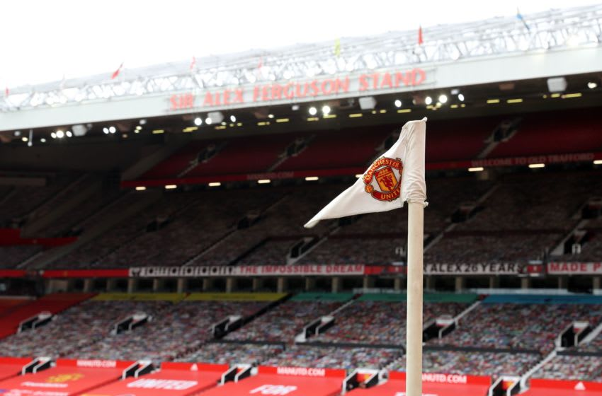 Manchester United flag. (Photo by Martin Rickett / POOL / AFP) / RESTRICTED TO EDITORIAL USE. No use with unauthorized audio, video, data, fixture lists, club/league logos or 'live' services. Online in-match use limited to 120 images. An additional 40 images may be used in extra time. No video emulation. Social media in-match use limited to 120 images. An additional 40 images may be used in extra time. No use in betting publications, games or single club/league/player publications. / (Photo by MARTIN RICKETT/POOL/AFP via Getty Images)