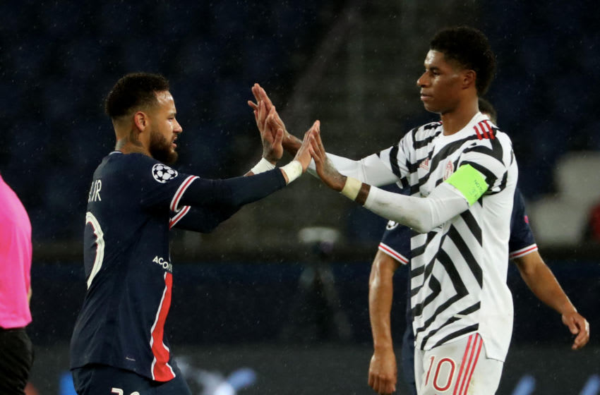 PARIS, FRANCE-OCTOBER 20: Marcus Rashford #10 of Manchester United react with Neymar Jr #10 of Paris Saint-Germain after during the UEFA Champions League Group H stage match between Paris Saint-Germain (PSG) and Manchester United at Parc des Princes on October 20, 2020 in Paris, France. (Photo by Xavier Laine/Getty Images)