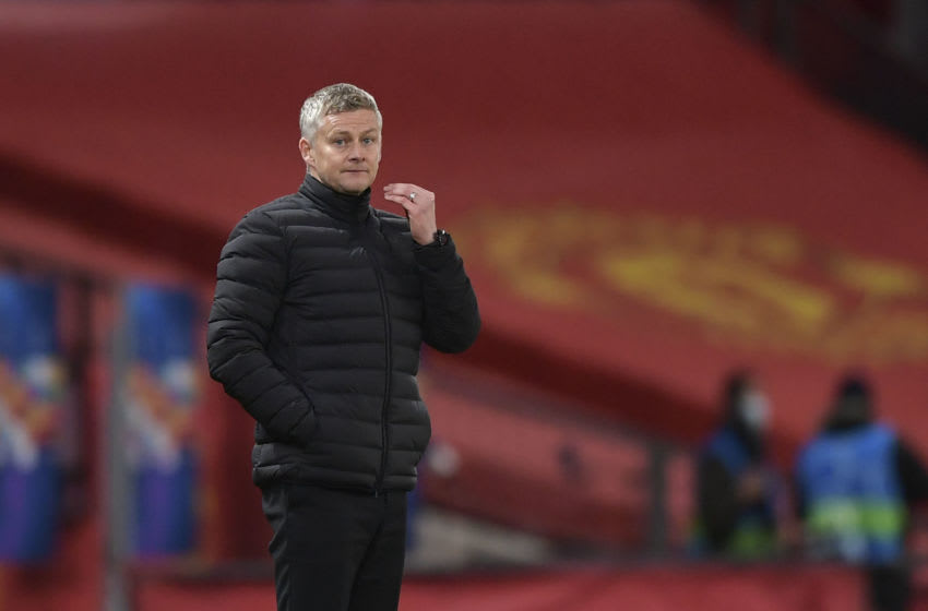 MANCHESTER, ENGLAND - OCTOBER 28: (BILD ZEITUNG OUT) head coach Ole Gunnar Solskjær of Manchester United gestures during the UEFA Champions League Group H stage match between Manchester United and RB Leipzig at Old Trafford on October 28, 2020 in Manchester, United Kingdom. Sporting stadiums around the UK remain under strict restrictions due to the Coronavirus Pandemic as Government social distancing laws prohibit fans inside venues resulting in games being played behind closed doors. (Photo by Vincent Mignott/DeFodi Images via Getty Images)
