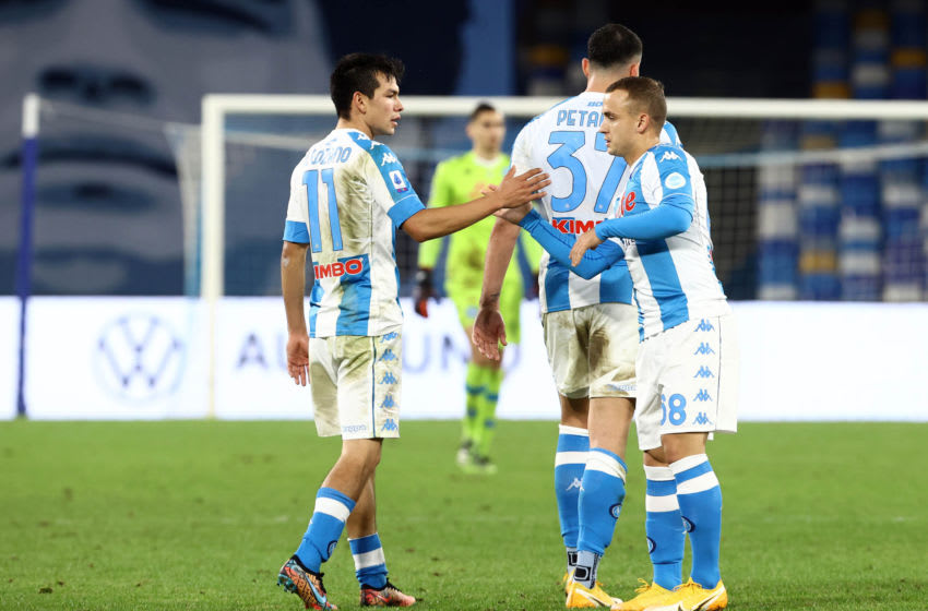 NAPLES, ITALY - DECEMBER 13: Hirving Lozano of SSC Napoli celebrates victory Stanislav Lobotka of SSC Napoli ,during the Serie A match between SSC Napoli and UC Sampdoria at Stadio Diego Armando Maradona on December 13, 2020 in Naples, Italy. (Photo by MB Media/Getty Images)
