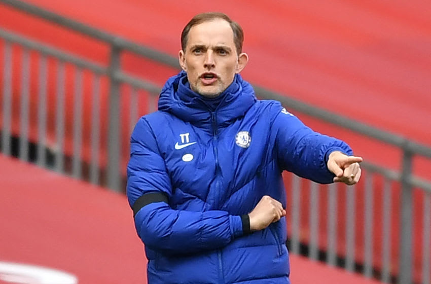 TOPSHOT - Chelsea's German head coach Thomas Tuchel gestures on the touchline during the English FA Cup semi-final football match between Chelsea and Manchester City at Wembley Stadium in north west London on April 17, 2021. - - NOT FOR MARKETING OR ADVERTISING USE / RESTRICTED TO EDITORIAL USE (Photo by Ben STANSALL / POOL / AFP) / NOT FOR MARKETING OR ADVERTISING USE / RESTRICTED TO EDITORIAL USE (Photo by BEN STANSALL/POOL/AFP via Getty Images)
