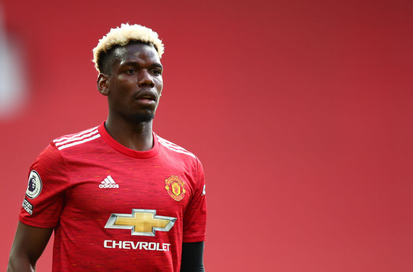 MANCHESTER, ENGLAND - MAY 18: Paul Pogba of Manchester United during the Premier League match between Manchester United and Fulham at Old Trafford on May 18, 2021 in Manchester, United Kingdom. (Photo by Robbie Jay Barratt - AMA/Getty Images)