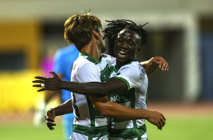 PRACHAL, PORTUGAL - JULY 14: Daniel Braganca of Sporting CP (L) celebrates scoring Sporting CP second with Joelson Fernandes of Sporting CP (R) goal during the Pre-Season Frienldy match between Sporting CP and Portimonense SC - at Estadio da Bela Vista on July 14, 2021 in Prachal, Portugal. (Photo by Carlos Rodrigues/Getty Images)