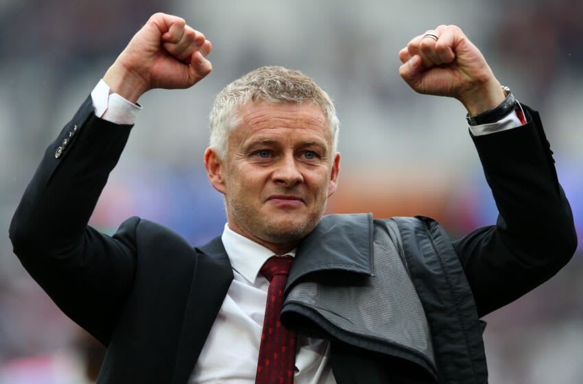 LONDON, ENGLAND - SEPTEMBER 19: Manchester United manager Ole Gunnar Solskjaer celebrates his side's victory after the Premier League match between West Ham United and Manchester United at London Stadium on September 19, 2021 in London, England. (Photo by Craig Mercer/MB Media/Getty Images)
