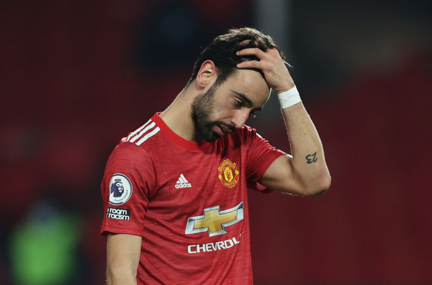 MANCHESTER, ENGLAND - APRIL 04: Bruno Fernandes of Manchester United reacts during the Premier League match between Manchester United and Brighton & Hove Albion at Old Trafford on April 04, 2021 in Manchester, England. Sporting stadiums around the UK remain under strict restrictions due to the Coronavirus Pandemic as Government social distancing laws prohibit fans inside venues resulting in games being played behind closed doors. (Photo by Clive Brunskill/Getty Images)