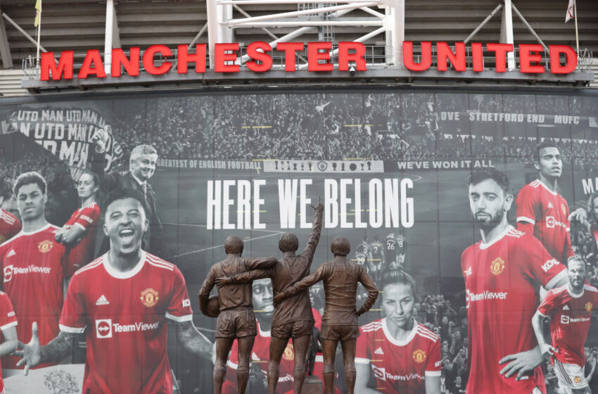 MANCHESTER, ENGLAND - AUGUST 14: General view outside the stadium where the United Trinity statue is seen prior to the Premier League match between Manchester United and Leeds United at Old Trafford on August 14, 2021 in Manchester, England. (Photo by Catherine Ivill/Getty Images,)