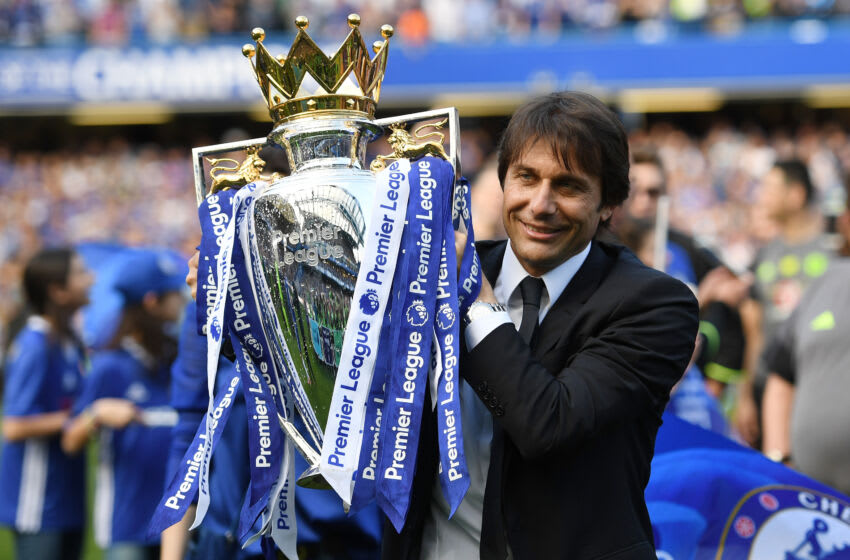LONDON, ENGLAND - MAY 21: Antonio Conte, Manager of Chelsea holds the trophy following the Premier League match between Chelsea and Sunderland at Stamford Bridge on May 21, 2017 in London, England. (Photo by Shaun Botterill/Getty Images)