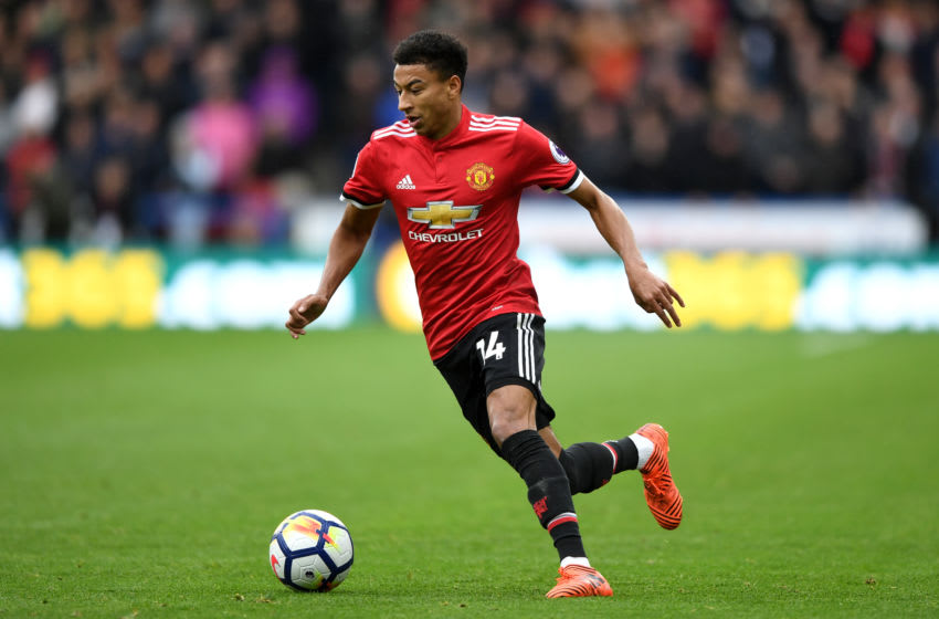 HUDDERSFIELD, ENGLAND - OCTOBER 21: Jesse Lingard of Manchester United during the Premier League match between Huddersfield Town and Manchester United at John Smith's Stadium on October 21, 2017 in Huddersfield, England. (Photo by Gareth Copley/Getty Images)