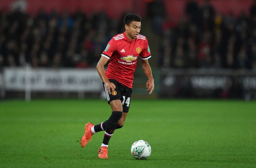 SWANSEA, WALES - OCTOBER 24: Jesse Lingard of United in action during the Carabao Cup Fourth Round match between Swansea City and Manchester United at Liberty Stadium on October 24, 2017 in Swansea, Wales. (Photo by Stu Forster/Getty Images)