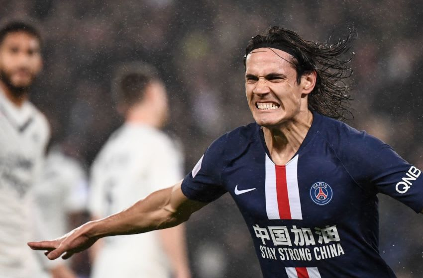 Paris Saint-Germain's Uruguayan forward Edinson Cavani celebrates after scoring a goal during the French L1 football match between Paris Saint-Germain (PSG) and Girondins de Bordeaux at the Parc des Princes stadium in Paris, on February 23, 2020. (Photo by FRANCK FIFE / AFP) (Photo by FRANCK FIFE/AFP via Getty Images)