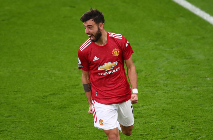 LEICESTER, ENGLAND - DECEMBER 26: Bruno Fernandes of Manchester United celebrates scoring their 2nd goal during the Premier League match between Leicester City and Manchester United at The King Power Stadium on December 26, 2020 in Leicester, United Kingdom. The match will be played without fans, behind closed doors as a Covid-19 precaution. (Photo by Marc Atkins/Getty Images)