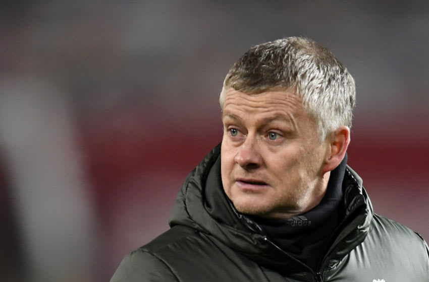 Ole Gunnar Solskjaer, Manchester United. (Photo by PETER POWELL / POOL / AFP) / RESTRICTED TO EDITORIAL USE. No use with unauthorized audio, video, data, fixture lists, club/league logos or 'live' services. Online in-match use limited to 120 images. An additional 40 images may be used in extra time. No video emulation. Social media in-match use limited to 120 images. An additional 40 images may be used in extra time. No use in betting publications, games or single club/league/player publications. / (Photo by PETER POWELL/POOL/AFP via Getty Images)