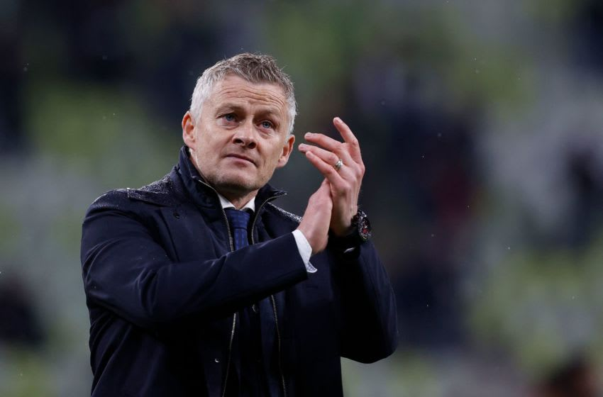 Manchester United's Norwegian manager Ole Gunnar Solskjaer reacts after his team's defeat during the UEFA Europa League final football match between Villarreal CF and Manchester United at the Gdansk Stadium in Gdansk on May 26, 2021. (Photo by KACPER PEMPEL / POOL / AFP) (Photo by KACPER PEMPEL/POOL/AFP via Getty Images)
