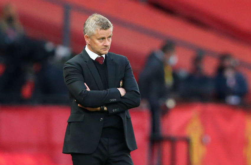 MANCHESTER, ENGLAND - OCTOBER 04: Ole Gunnar Solskjaer, Manager of Manchester United looks on during the Premier League match between Manchester United and Tottenham Hotspur at Old Trafford on October 04, 2020 in Manchester, England. Sporting stadiums around the UK remain under strict restrictions due to the Coronavirus Pandemic as Government social distancing laws prohibit fans inside venues resulting in games being played behind closed doors. (Photo by Alex Livesey/Getty Images)