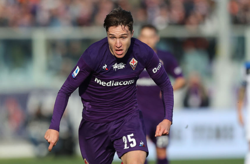 FLORENCE, ITALY - FEBRUARY 08: Federico Chiesa of ACF Fiorentina in action during the Serie A match between ACF Fiorentina and Atalanta BC at Stadio Artemio Franchi on February 8, 2020 in Florence, Italy. (Photo by Gabriele Maltinti/Getty Images)