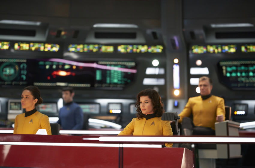 ÒSuch Sweet Sorrow, Part 2Ó -- Ep#214 -- Pictured (l-r): Samora Smallwood as Lt. Amin; Ethan Peck as Spock; Rebecca Romijn as Number One; Anson Mount as Captain Pike of the CBS All Access series STAR TREK: DISCOVERY. Photo Cr: Russ Martin/CBS ©2018 CBS Interactive, Inc. All Rights Reserved.