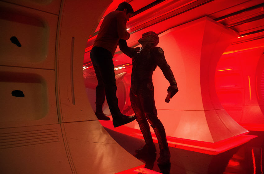 Left to right: Chris Pine plays Kirk and Idris Elba plays Crowl in Star Trek Beyond from Paramount Pictures, Skydance, Bad Robot, Sneaky Shark and Perfect Storm Entertainment