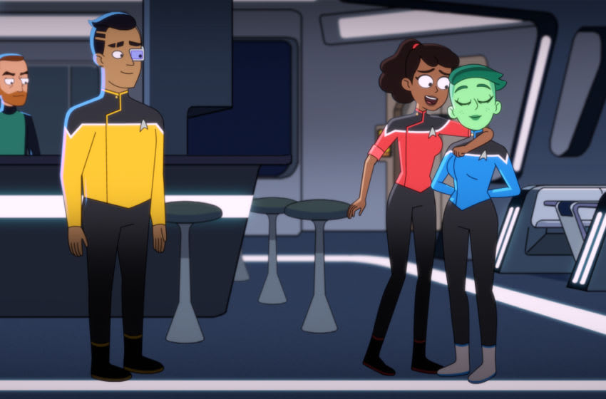 Pictured (L-R): Eugene Cordero as Ensign Rutherford, Tawny Newsome as Ensign Beckett Mariner and Noel Wells as Ensign Tendi of the CBS All Access series STAR TREK: LOWER DECKS. Photo Cr: Best Possible Screen Grab CBS 2020 CBS Interactive, Inc. All Rights Reserved.