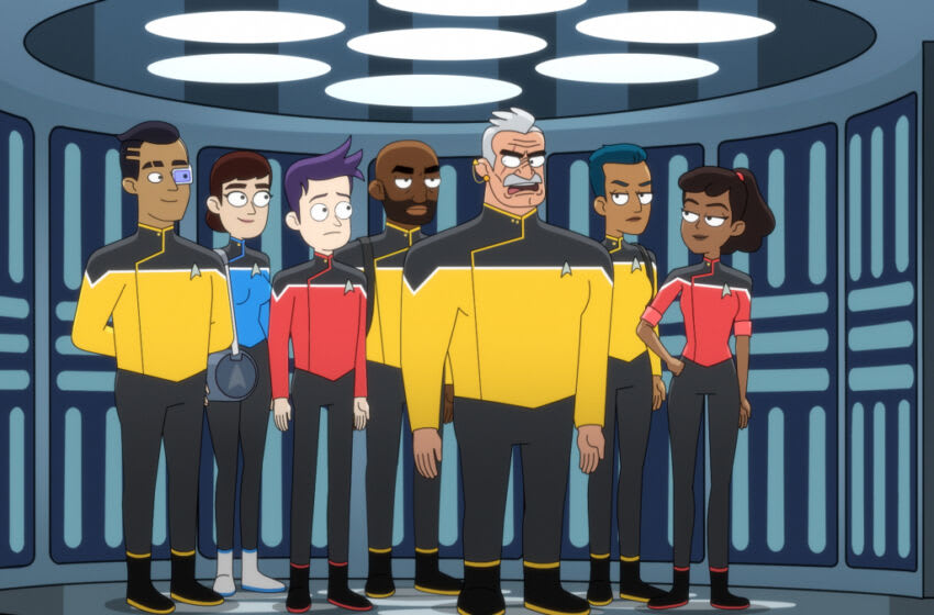 """""""Mugato, Gumato"""" -- Eugene Cordero as Ensign Rutherford, Jack Quaid as Ensign Brad Boimler, Fred Tatasciore as Lieutenant Shaxs and Tawny Newsome as Ensign Beckett Mariner of the Paramount+ series STAR TREK: LOWER DECKS. Photo: PARAMOUNT+ ©2021 CBS Interactive, Inc. All Rights Reserved **Best Possible Screen Grab**"""