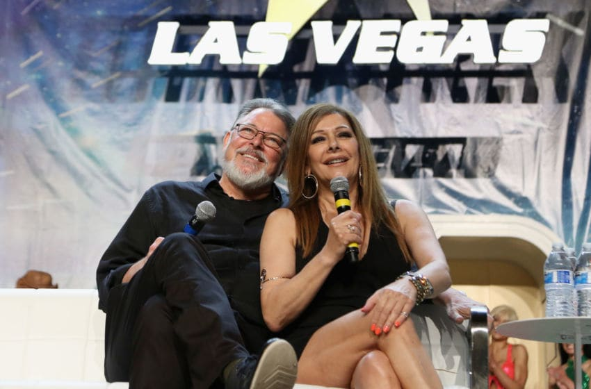 LAS VEGAS, NV - AUGUST 03: Actor and director Jonathan Frakes (L) and actress Marina Sirtis speak at the