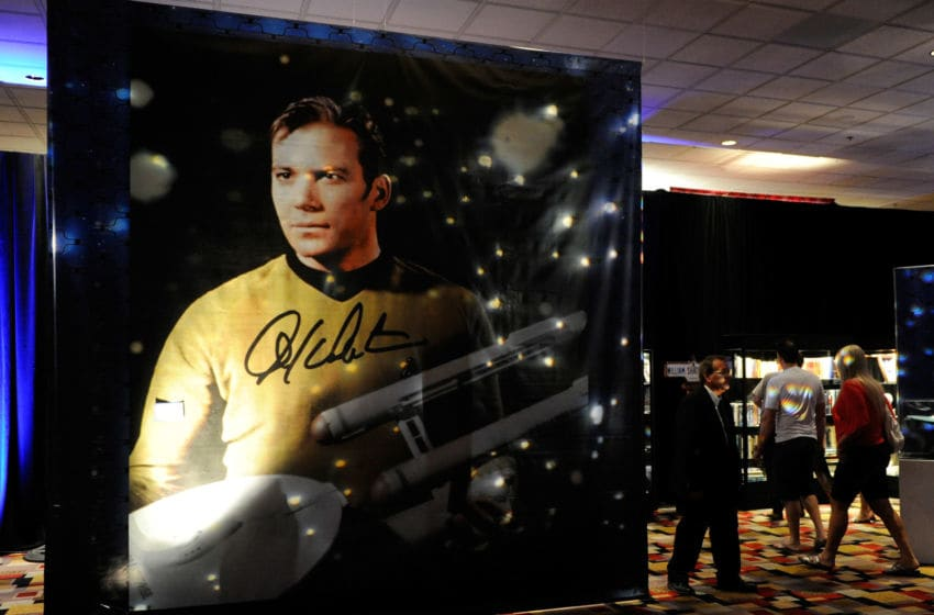 LAS VEGAS - JUNE 24: A vinyl scrim showing actor William Shatner's character Capt. James T. Kirk is displayed at Julien's Auctions annual summer sale at the Planet Hollywood Resort & Casino June 24, 2010 in Las Vegas, Nevada. The auction, which continues through Sunday, features 1,600 items from entertainers including Michael Jackson, Anna Nicole Smith, Marilyn Monroe, Cher, Elvis Presley and Star Trek creator Gene Roddenberry. (Photo by Ethan Miller/Getty Images)