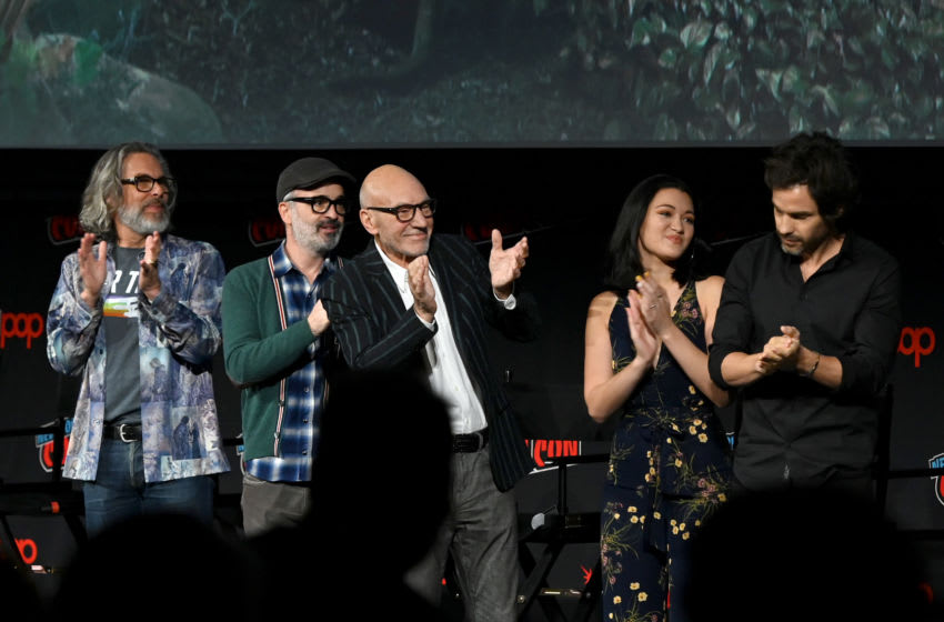 NEW YORK, NEW YORK - OCTOBER 05: Michael Chabon, Alex Kurtzman, Sir Patrick Stewart, Isa Briones and Santiago Cabrera speak onstage during the Star Trek Universe panel New York Comic Con at Hulu Theater at Madison Square Garden on October 05, 2019 in New York City. (Photo by Ilya S. Savenok/Getty Images for ReedPOP )